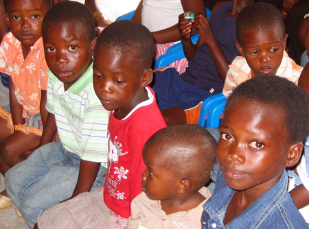 Orphans during the dedication service